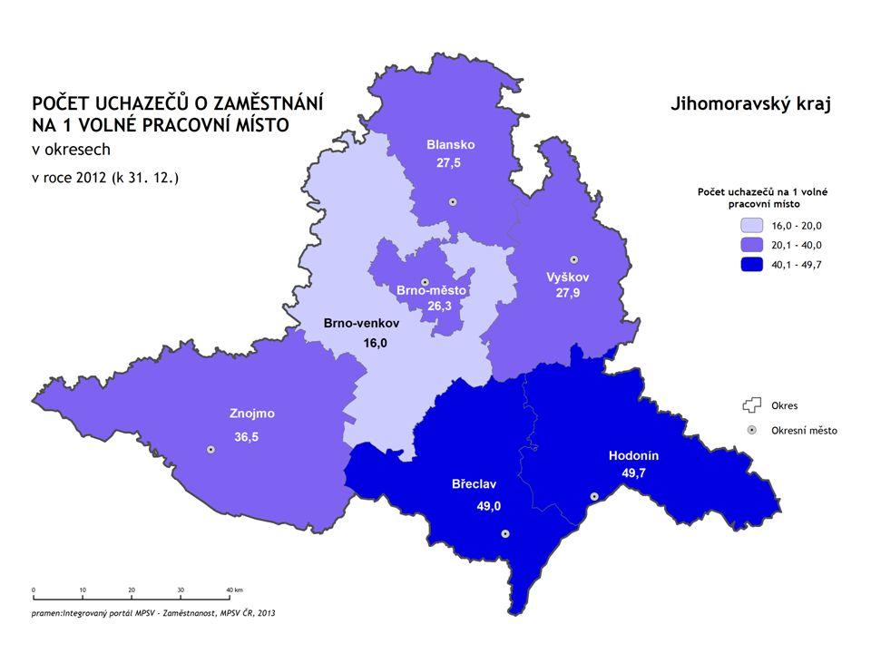 Sektory národního hospodářství  Vývoj zaměstnanosti v sektorech národního hospodářství v Jihomoravském kraji a v České republice v letech 2000–2012