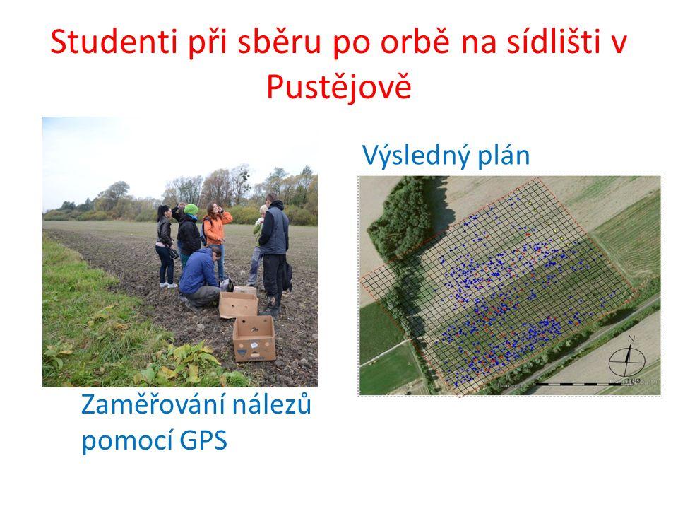 Studenti při sběru po orbě na sídlišti v Pustějově Zaměřování nálezů pomocí GPS Výsledný plán