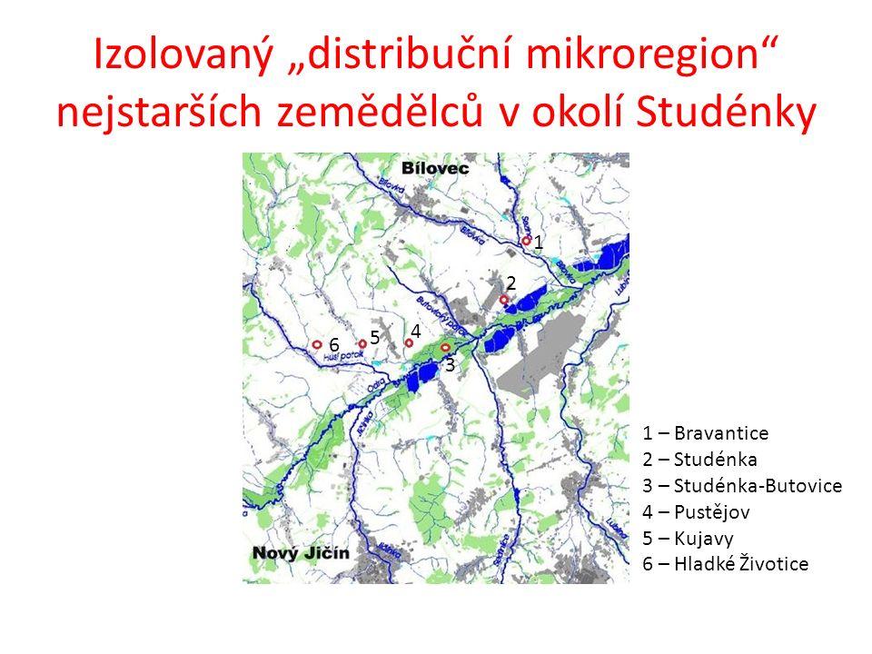 """Izolovaný """"distribuční mikroregion"""" nejstarších zemědělců v okolí Studénky 1 2 3 4 5 6 1 – Bravantice 2 – Studénka 3 – Studénka-Butovice 4 – Pustějov"""