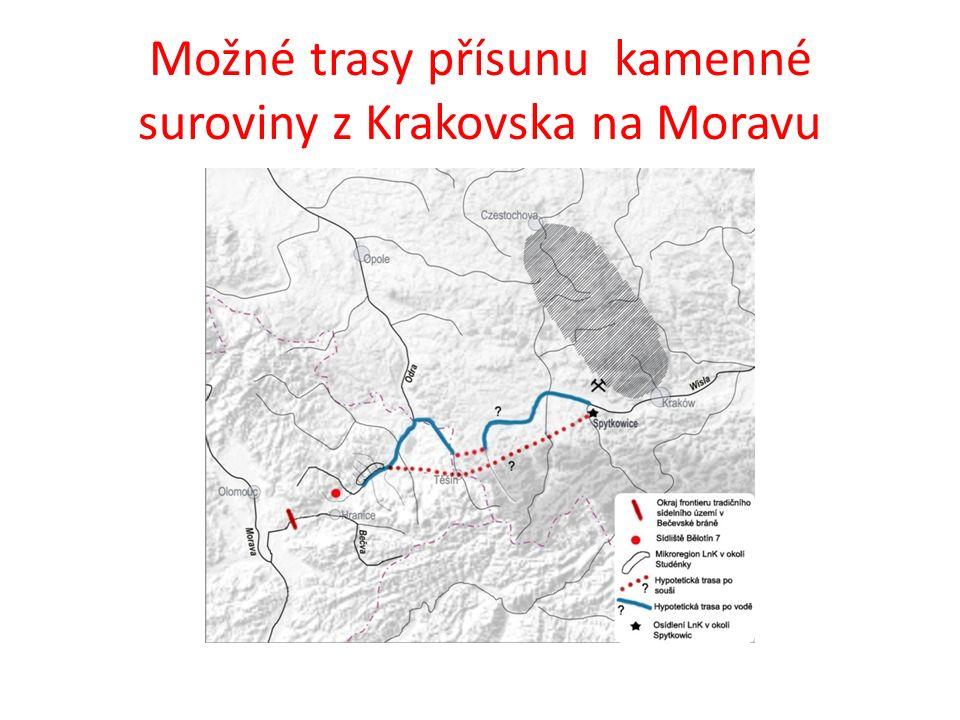Možné trasy přísunu kamenné suroviny z Krakovska na Moravu