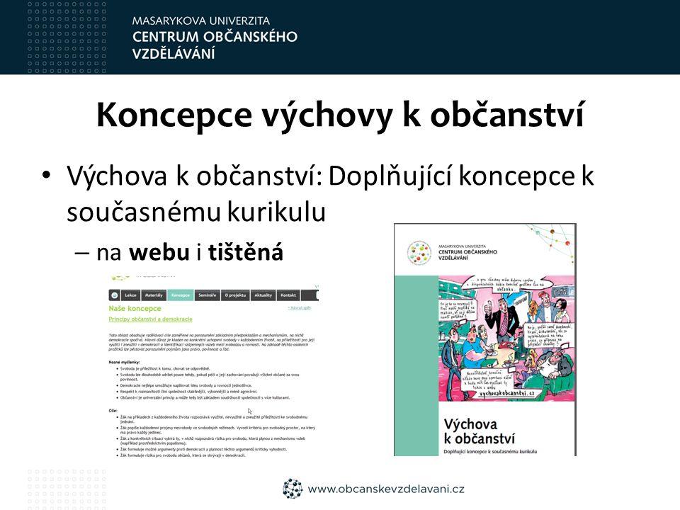 Koncepce výchovy k občanství Výchova k občanství: Doplňující koncepce k současnému kurikulu – na webu i tištěná