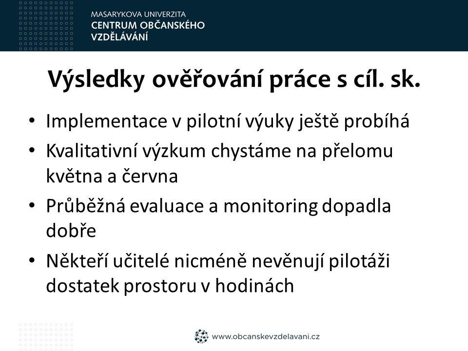 Výsledky ověřování práce s cíl. sk.