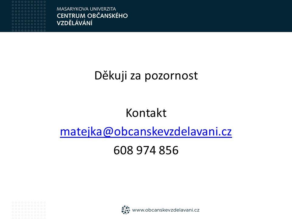 Děkuji za pozornost Kontakt matejka@obcanskevzdelavani.cz 608 974 856