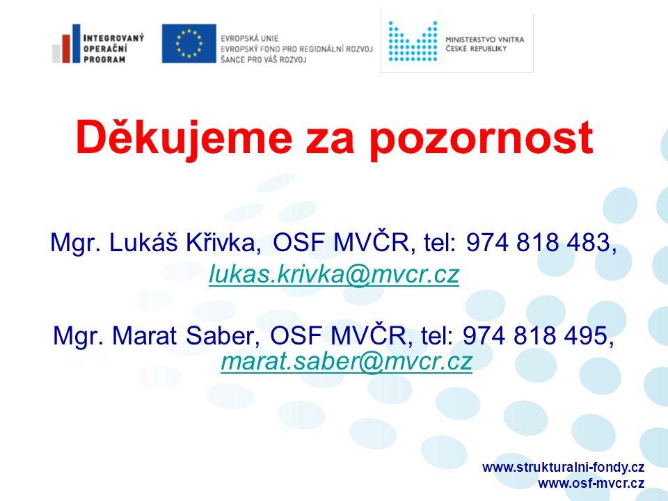 Děkujeme za pozornost Mgr. Lukáš Křivka, OSF MVČR, tel: 974 818 483, lukas.krivka@mvcr.cz Mgr.