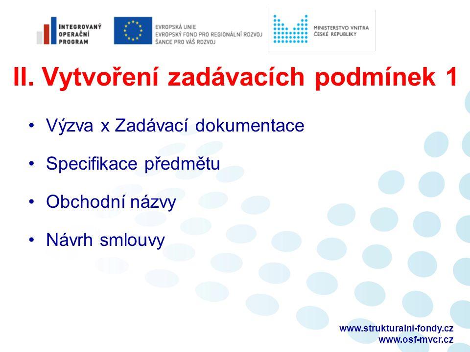 II. Vytvoření zadávacích podmínek 1 Výzva x Zadávací dokumentace Specifikace předmětu Obchodní názvy Návrh smlouvy www.strukturalni-fondy.cz www.osf-m