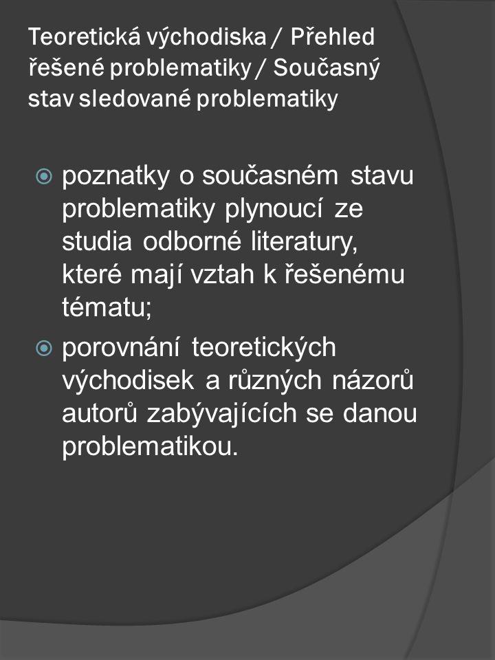 Teoretická východiska / Přehled řešené problematiky / Současný stav sledované problematiky  poznatky o současném stavu problematiky plynoucí ze studia odborné literatury, které mají vztah k řešenému tématu;  porovnání teoretických východisek a různých názorů autorů zabývajících se danou problematikou.