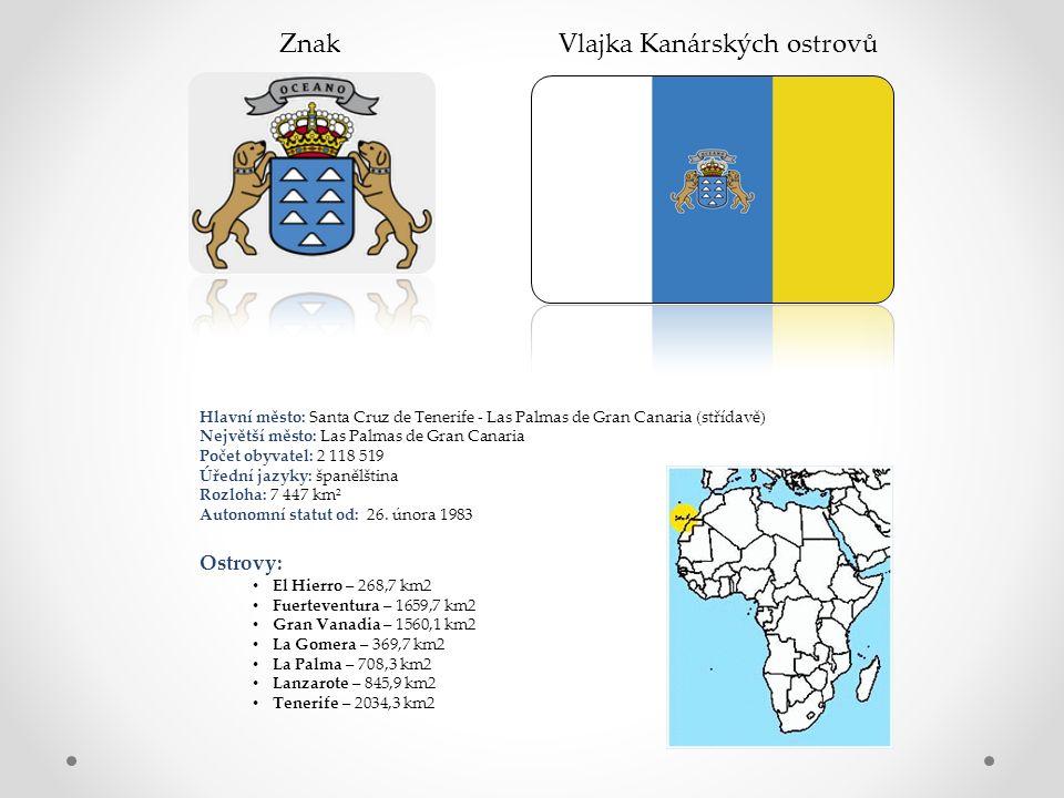 Znak Vlajka Kanárských ostrovů Hlavní město: Santa Cruz de Tenerife - Las Palmas de Gran Canaria (střídavě) Největší město: Las Palmas de Gran Canaria Počet obyvatel: 2 118 519 Úřední jazyky: španělština Rozloha: 7 447 km² Autonomní statut od: 26.