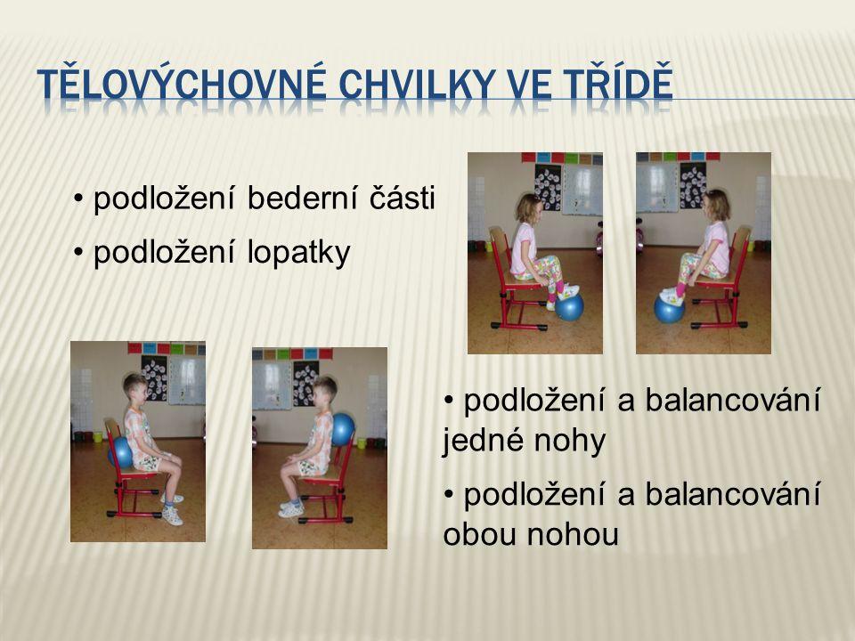 podložení bederní části podložení lopatky podložení a balancování jedné nohy podložení a balancování obou nohou
