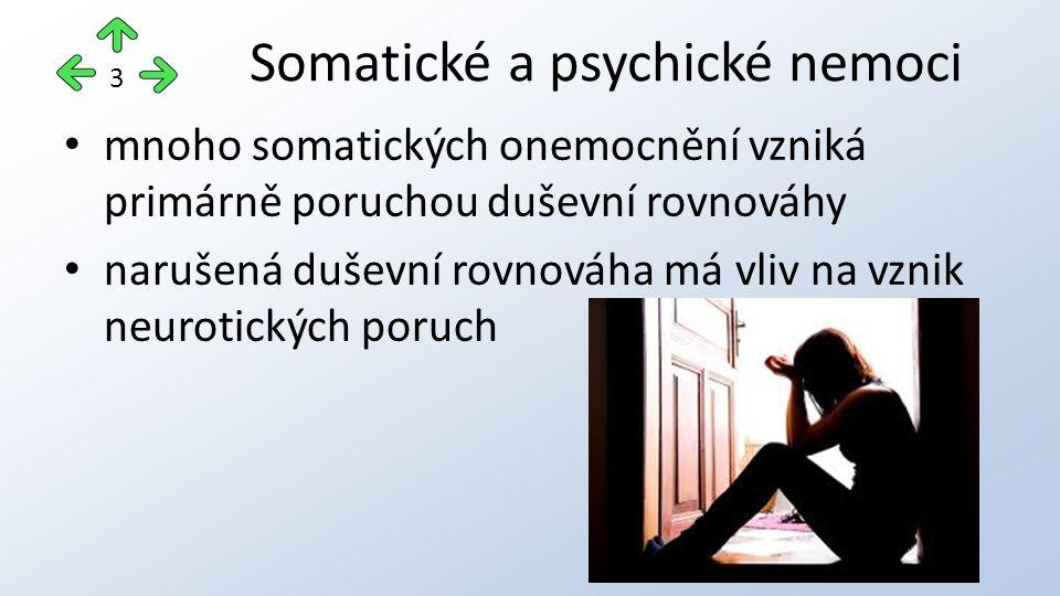 mnoho somatických onemocnění vzniká primárně poruchou duševní rovnováhy narušená duševní rovnováha má vliv na vznik neurotických poruch Somatické a psychické nemoci 3