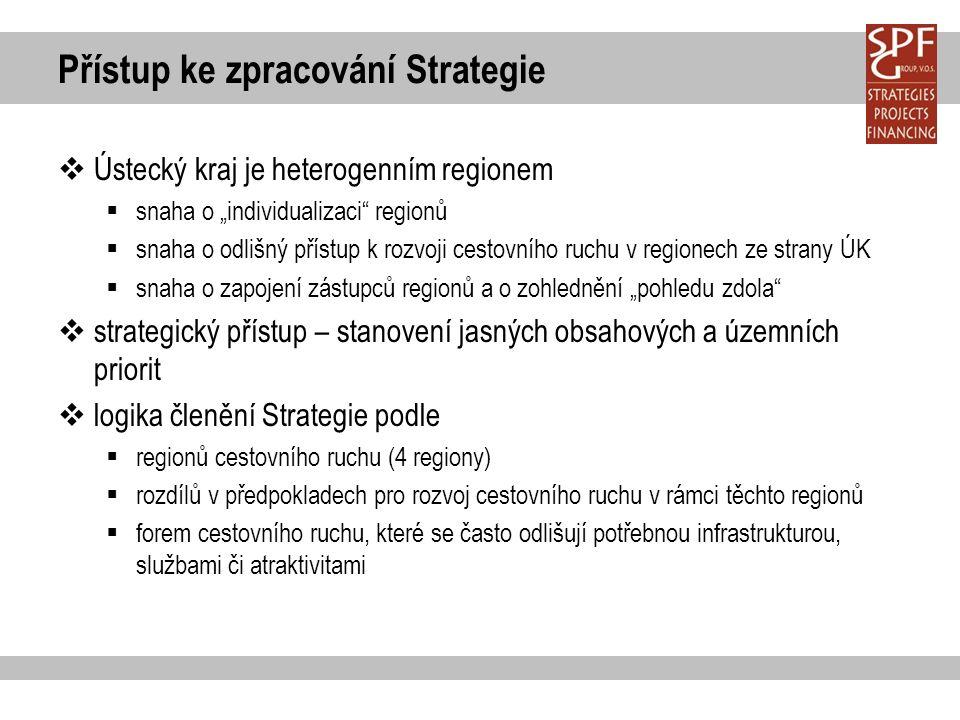 """Přístup ke zpracování Strategie  Ústecký kraj je heterogenním regionem  snaha o """"individualizaci regionů  snaha o odlišný přístup k rozvoji cestovního ruchu v regionech ze strany ÚK  snaha o zapojení zástupců regionů a o zohlednění """"pohledu zdola  strategický přístup – stanovení jasných obsahových a územních priorit  logika členění Strategie podle  regionů cestovního ruchu (4 regiony)  rozdílů v předpokladech pro rozvoj cestovního ruchu v rámci těchto regionů  forem cestovního ruchu, které se často odlišují potřebnou infrastrukturou, službami či atraktivitami"""
