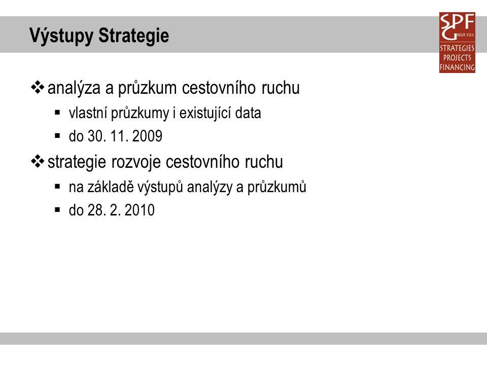 Výstupy Strategie  analýza a průzkum cestovního ruchu  vlastní průzkumy i existující data  do 30.