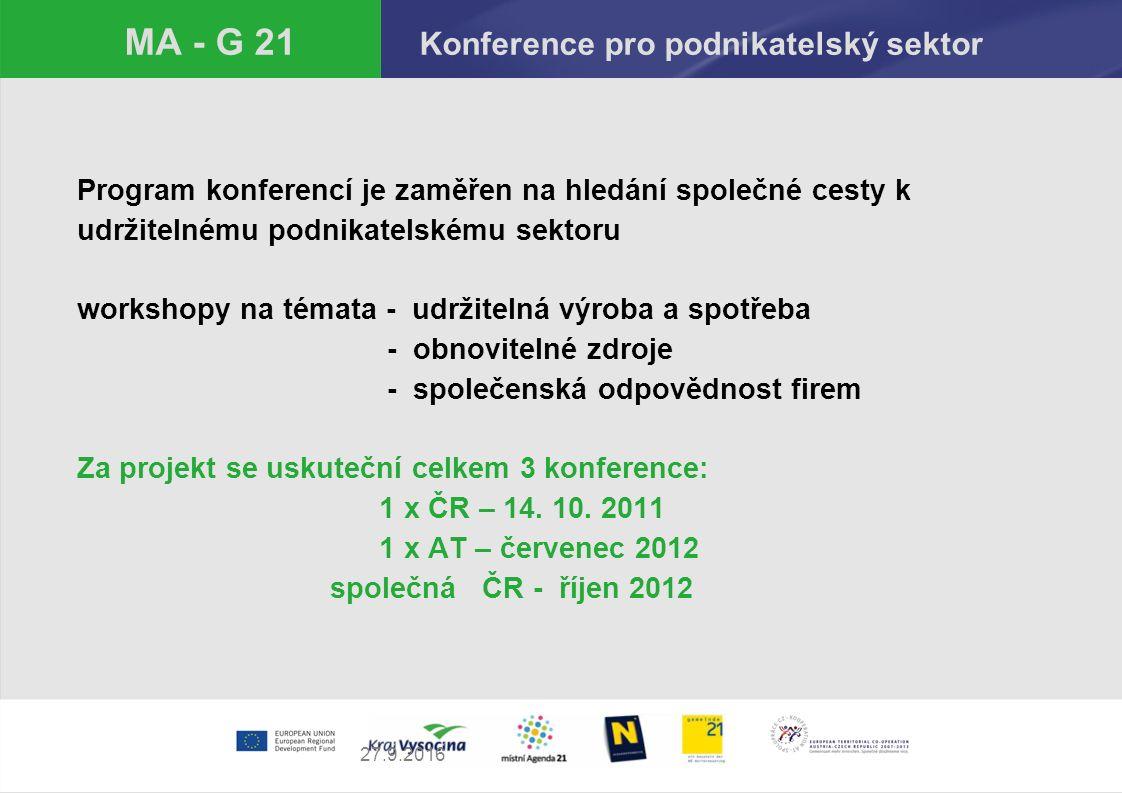 27.9.2016 MA - G 21 Konference pro podnikatelský sektor Program konferencí je zaměřen na hledání společné cesty k udržitelnému podnikatelskému sektoru