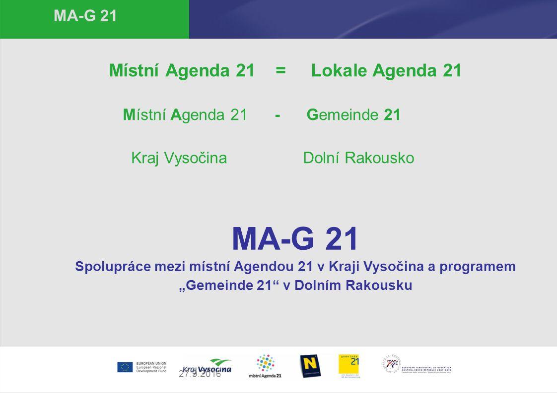 27.9.2016 MA-G 21 Místní Agenda 21 = Lokale Agenda 21 Místní Agenda 21 - Gemeinde 21 Kraj Vysočina Dolní Rakousko MA-G 21 Spolupráce mezi místní Agend