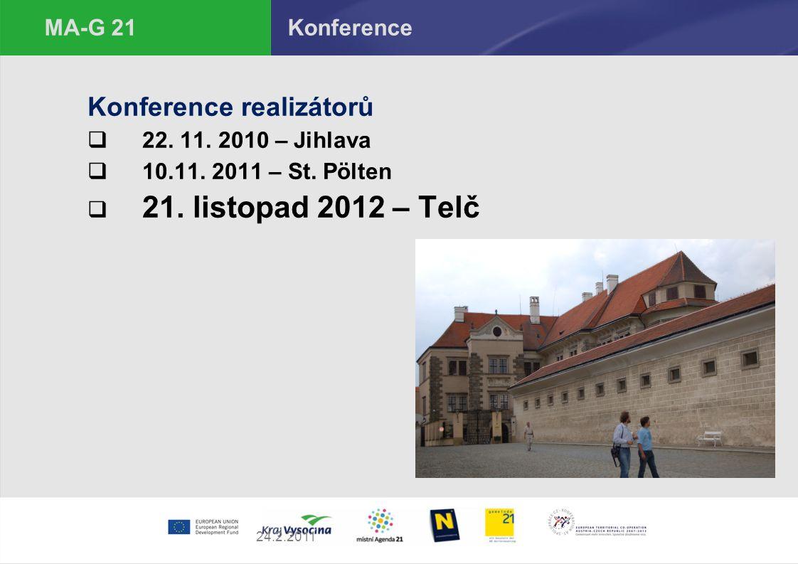 24.2.2011 MA-G 21 Konference Konference realizátorů  22. 11. 2010 – Jihlava  10.11. 2011 – St. Pölten  21. listopad 2012 – Telč