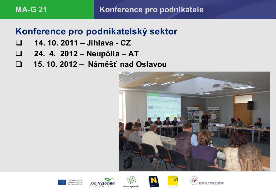 27.9.2016 MA - G 21 Konference pro podnikatelský sektor Program konferencí je zaměřen na hledání společné cesty k udržitelnému podnikatelskému sektoru workshopy na témata - udržitelná výroba a spotřeba - obnovitelné zdroje - společenská odpovědnost firem Za projekt se uskuteční celkem 3 konference: 1 x ČR – 14.