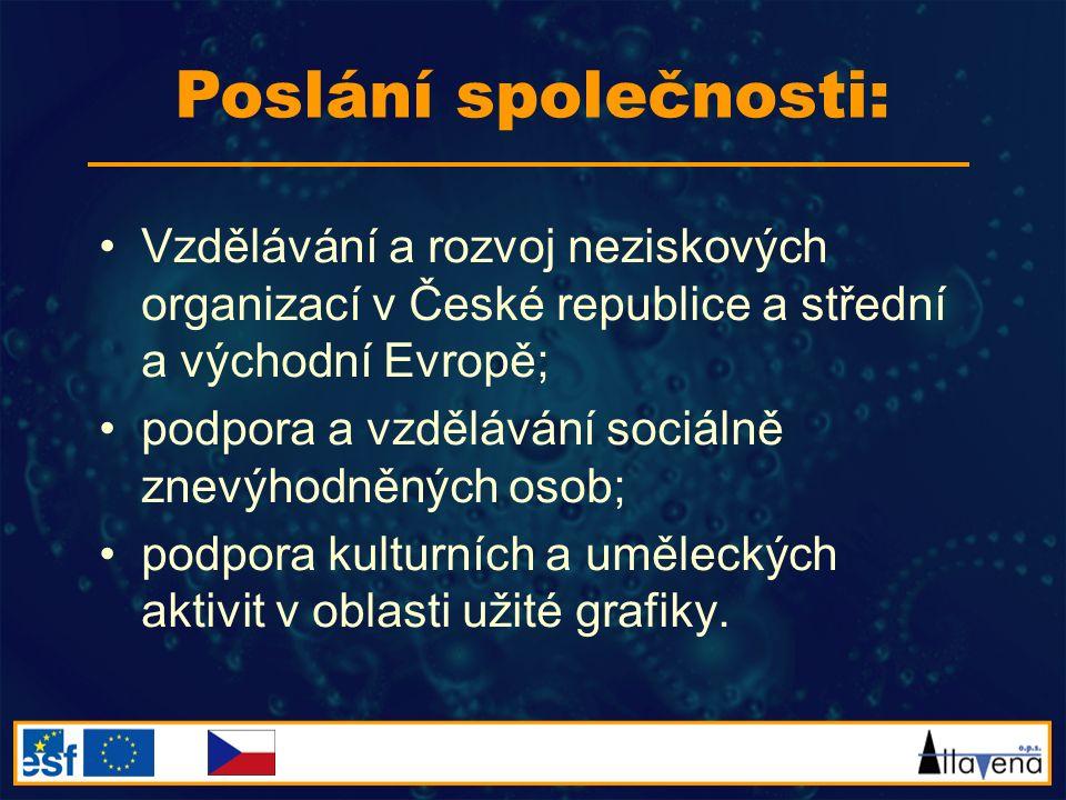Vzdělávání a rozvoj neziskových organizací v České republice a střední a východní Evropě; podpora a vzdělávání sociálně znevýhodněných osob; podpora k