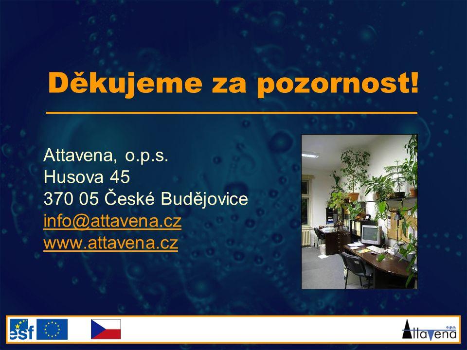 Děkujeme za pozornost! Attavena, o.p.s. Husova 45 370 05 České Budějovice info@attavena.cz www.attavena.cz