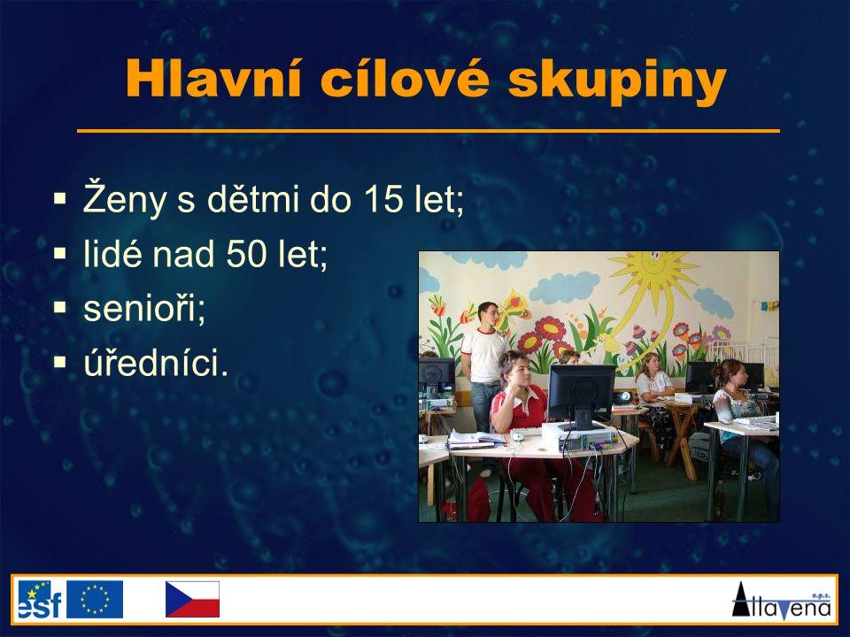 Hlavní cílové skupiny  Ženy s dětmi do 15 let;  lidé nad 50 let;  senioři;  úředníci.