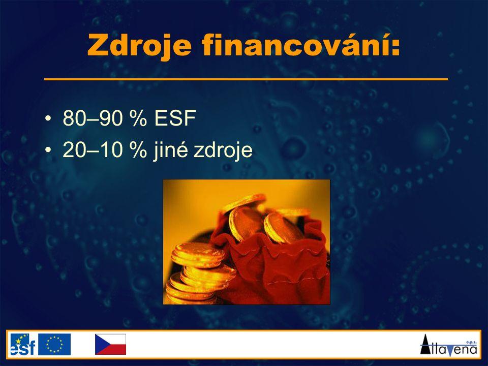 Zdroje financování: 80–90 % ESF 20–10 % jiné zdroje