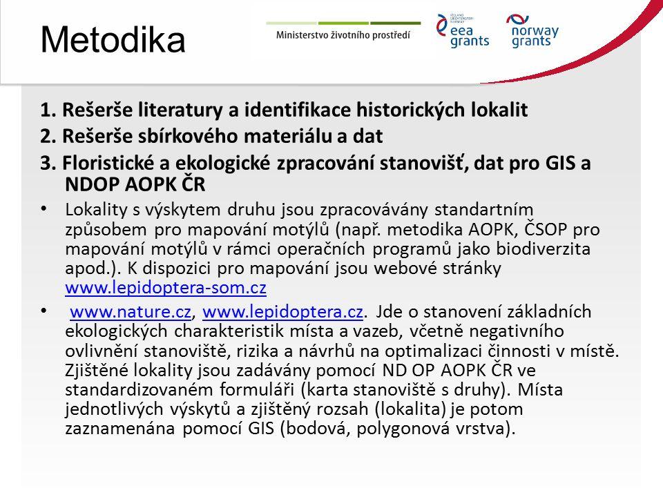 Metodika 1. Rešerše literatury a identifikace historických lokalit 2.