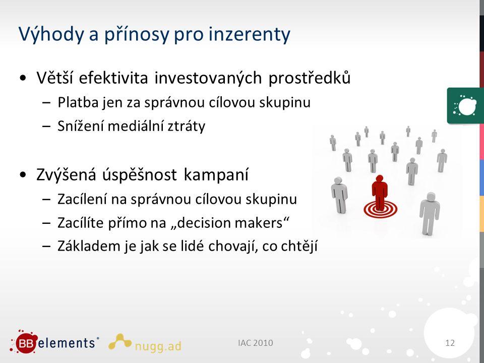 """Výhody a přínosy pro inzerenty Větší efektivita investovaných prostředků –Platba jen za správnou cílovou skupinu –Snížení mediální ztráty Zvýšená úspěšnost kampaní –Zacílení na správnou cílovou skupinu –Zacílíte přímo na """"decision makers –Základem je jak se lidé chovají, co chtějí IAC 2010 12"""