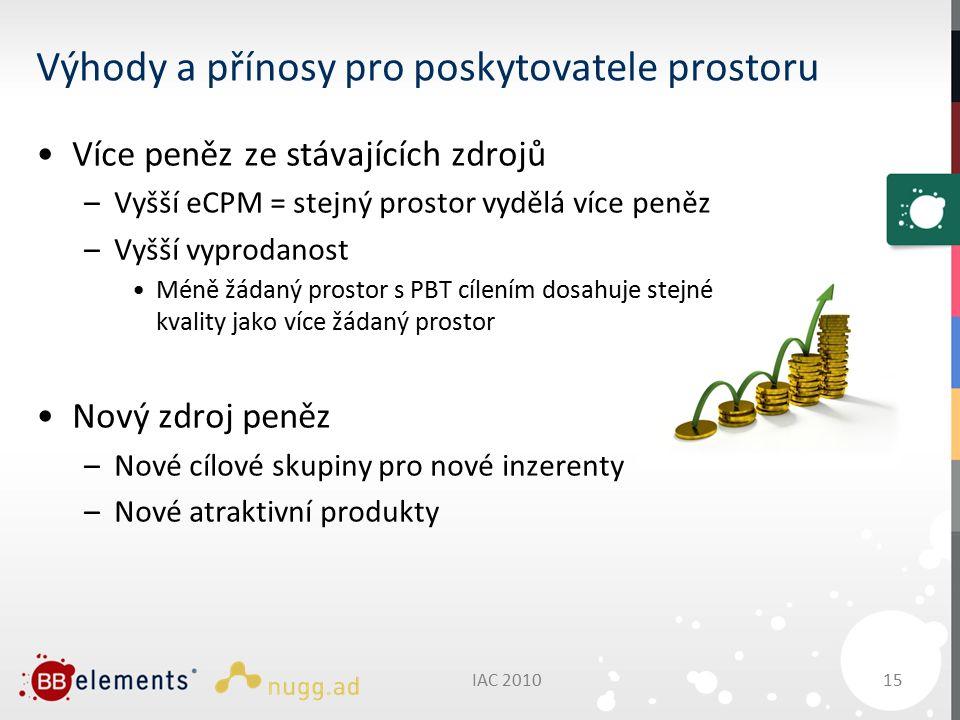 Výhody a přínosy pro poskytovatele prostoru Více peněz ze stávajících zdrojů –Vyšší eCPM = stejný prostor vydělá více peněz –Vyšší vyprodanost Méně žádaný prostor s PBT cílením dosahuje stejné kvality jako více žádaný prostor Nový zdroj peněz –Nové cílové skupiny pro nové inzerenty –Nové atraktivní produkty IAC 2010 15