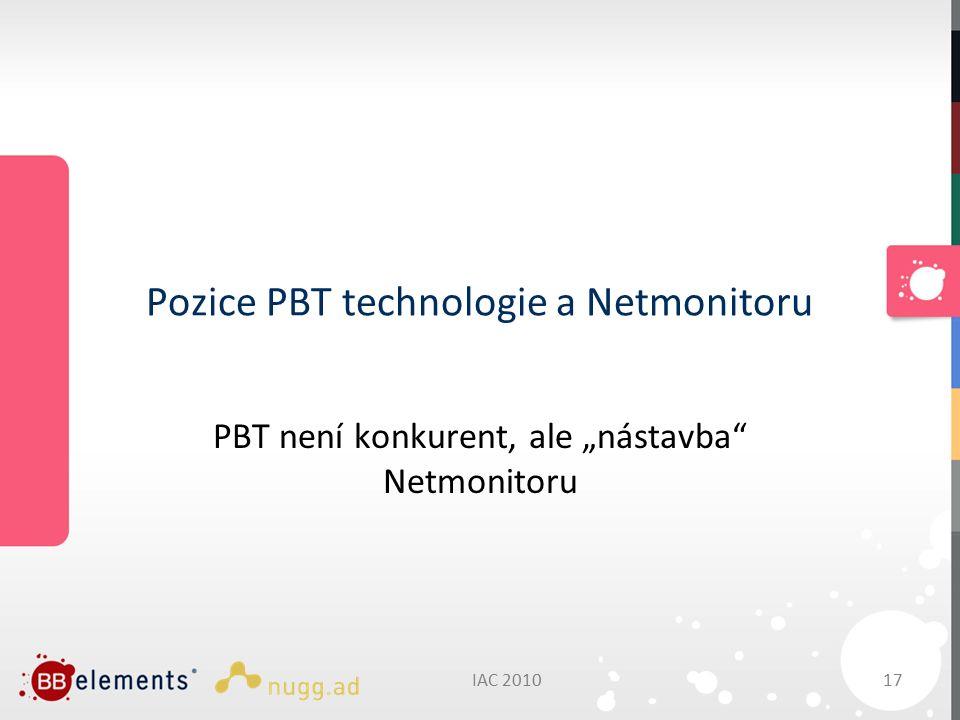 """IAC 201017 Pozice PBT technologie a Netmonitoru PBT není konkurent, ale """"nástavba Netmonitoru"""