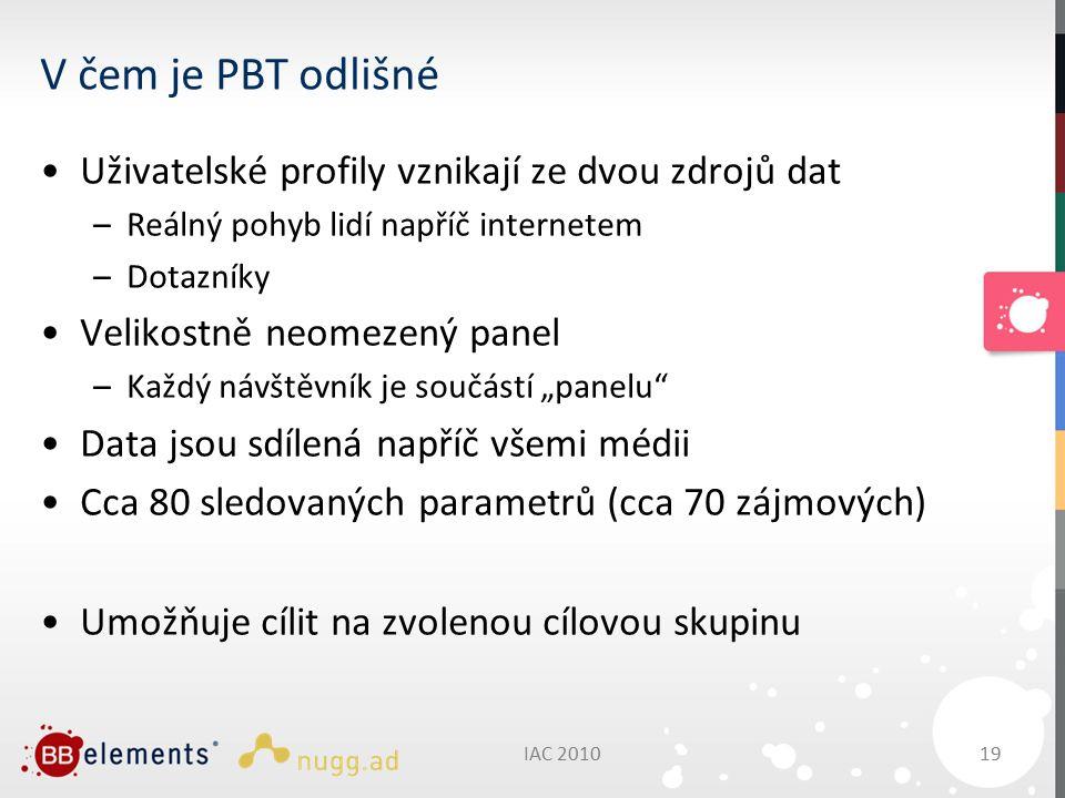 """IAC 201019 V čem je PBT odlišné Uživatelské profily vznikají ze dvou zdrojů dat –Reálný pohyb lidí napříč internetem –Dotazníky Velikostně neomezený panel –Každý návštěvník je součástí """"panelu Data jsou sdílená napříč všemi médii Cca 80 sledovaných parametrů (cca 70 zájmových) Umožňuje cílit na zvolenou cílovou skupinu"""