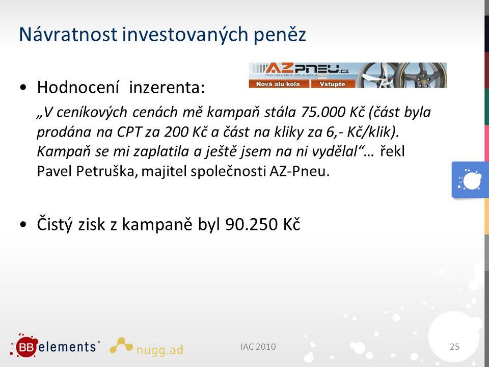 """IAC 201025 Návratnost investovaných peněz Hodnocení inzerenta: """"V ceníkových cenách mě kampaň stála 75.000 Kč (část byla prodána na CPT za 200 Kč a část na kliky za 6,- Kč/klik)."""