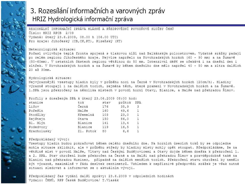 3. Rozesílání informačních a varovných zpráv HRIZ Hydrologická informační zpráva REGIONÁLNÍ INFORMAČNÍ ZPRÁVA HLÁSNÉ A PŘEDPOVĚDNÍ POVODŇOVÉ SLUŽBY ČH