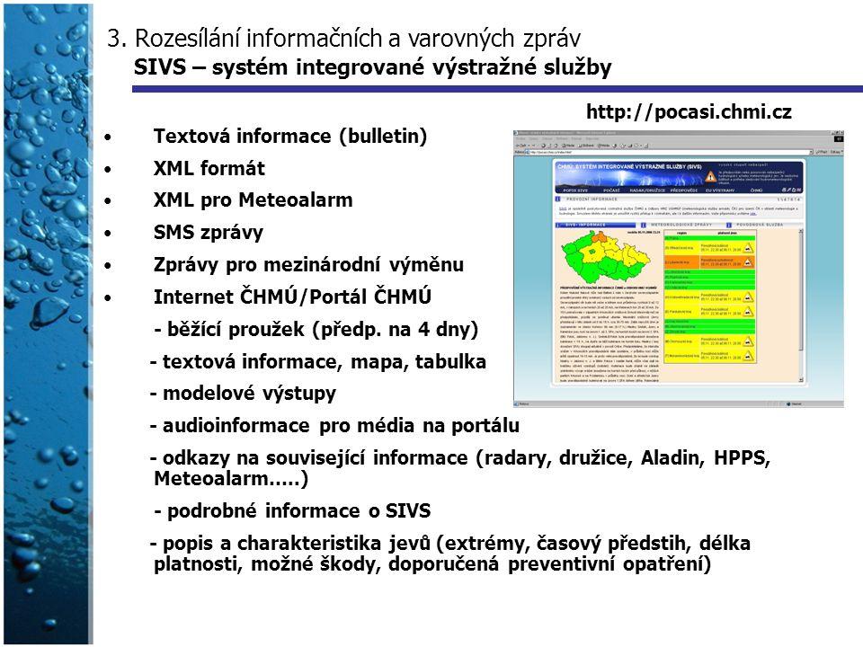 3. Rozesílání informačních a varovných zpráv SIVS – systém integrované výstražné služby Textová informace (bulletin) XML formát XML pro Meteoalarm SMS