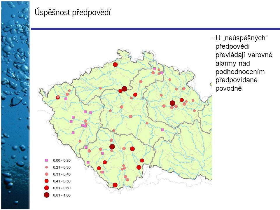 """Úspěšnost předpovědí U """"neúspěšných"""" předpovědí převládají varovné alarmy nad podhodnocením předpovídané povodně"""