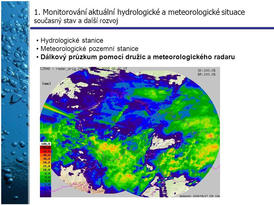 Hydrologické stanice Meteorologické pozemní stanice Dálkový průzkum pomocí družic a meteorologického radaru 1. Monitorování aktuální hydrologické a me