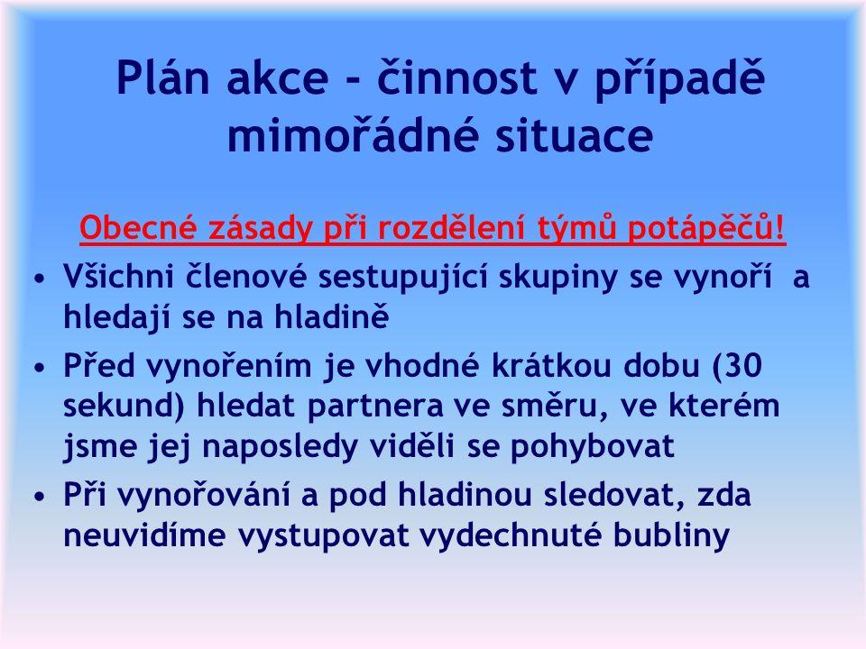 Plán akce - činnost v případě mimořádné situace Obecné zásady při rozdělení týmů potápěčů! Všichni členové sestupující skupiny se vynoří a hledají se