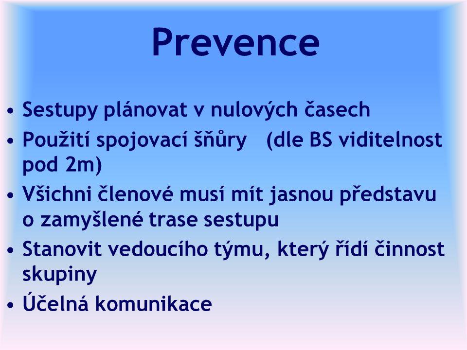 Prevence Sestupy plánovat v nulových časech Použití spojovací šňůry (dle BS viditelnost pod 2m) Všichni členové musí mít jasnou představu o zamyšlené