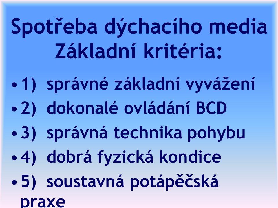 Spotřeba dýchacího media Základní kritéria: 1) správné základní vyvážení 2) dokonalé ovládání BCD 3) správná technika pohybu 4) dobrá fyzická kondice 5) soustavná potápěčská praxe