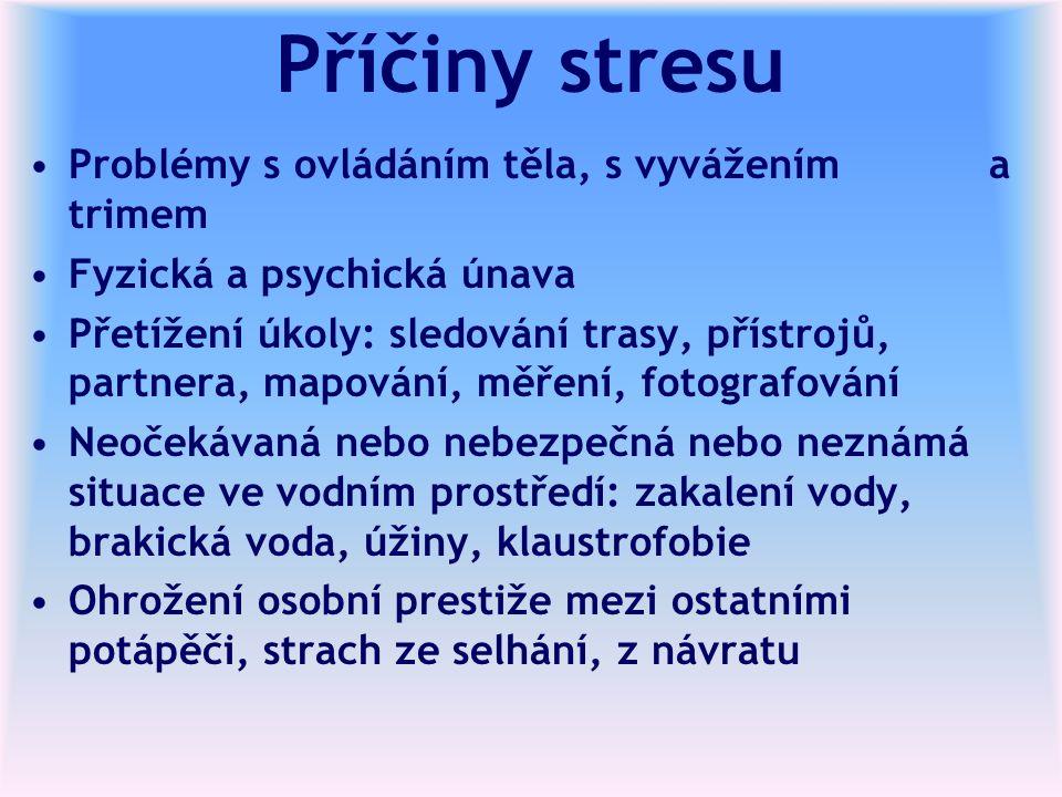 Příčiny stresu Problémy s ovládáním těla, s vyvážením a trimem Fyzická a psychická únava Přetížení úkoly: sledování trasy, přístrojů, partnera, mapová