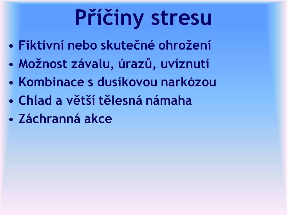 Příčiny stresu Fiktivní nebo skutečné ohrožení Možnost závalu, úrazů, uvíznutí Kombinace s dusíkovou narkózou Chlad a větší tělesná námaha Záchranná a