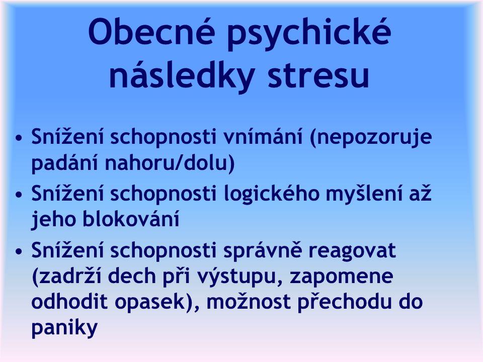 Obecné psychické následky stresu Snížení schopnosti vnímání (nepozoruje padání nahoru/dolu) Snížení schopnosti logického myšlení až jeho blokování Snížení schopnosti správně reagovat (zadrží dech při výstupu, zapomene odhodit opasek), možnost přechodu do paniky