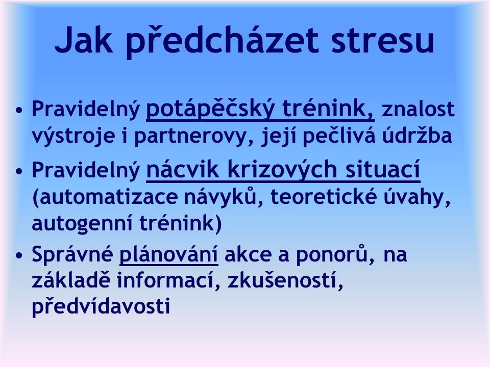 Jak předcházet stresu Pravidelný potápěčský trénink, znalost výstroje i partnerovy, její pečlivá údržba Pravidelný nácvik krizových situací (automatizace návyků, teoretické úvahy, autogenní trénink) Správné plánování akce a ponorů, na základě informací, zkušeností, předvídavosti