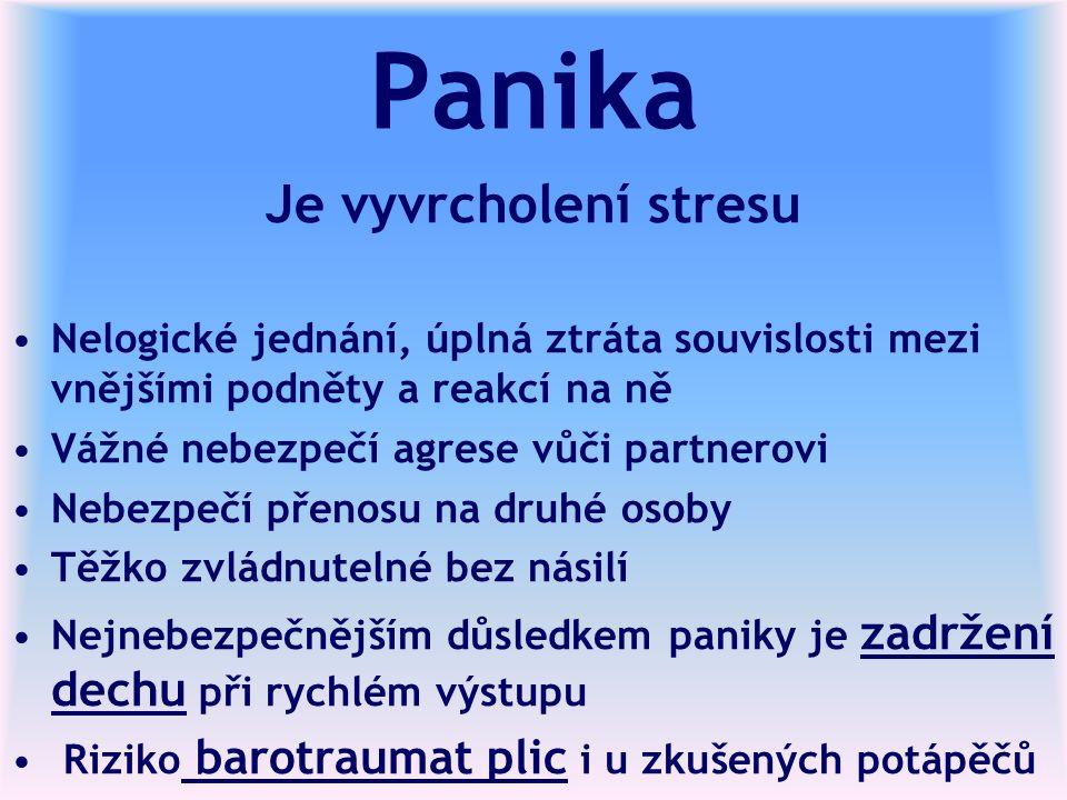 Panika Je vyvrcholení stresu Nelogické jednání, úplná ztráta souvislosti mezi vnějšími podněty a reakcí na ně Vážné nebezpečí agrese vůči partnerovi N