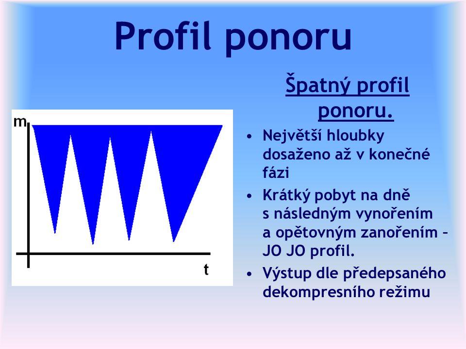 Profil ponoru Špatný profil ponoru. Největší hloubky dosaženo až v konečné fázi Krátký pobyt na dně s následným vynořením a opětovným zanořením – JO J
