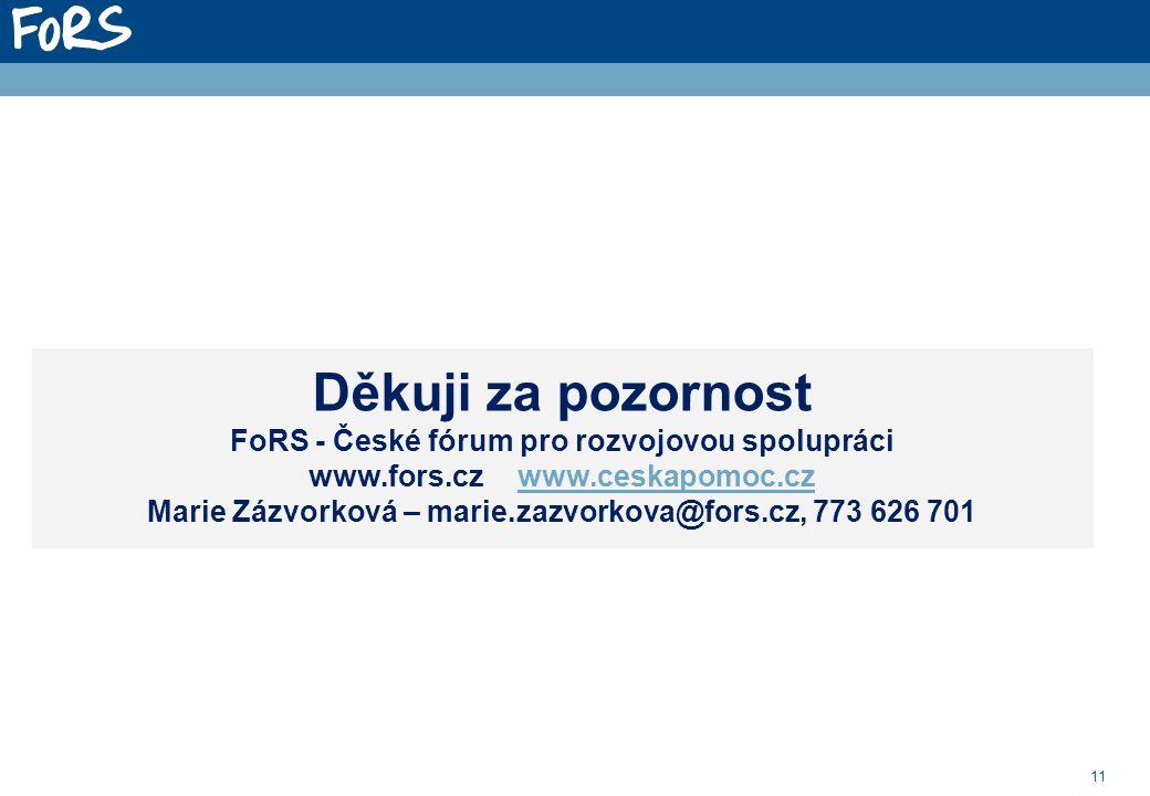 11 Děkuji za pozornost FoRS - České fórum pro rozvojovou spolupráci www.fors.cz www.ceskapomoc.czwww.ceskapomoc.cz Marie Zázvorková – marie.zazvorkova@fors.cz, 773 626 701