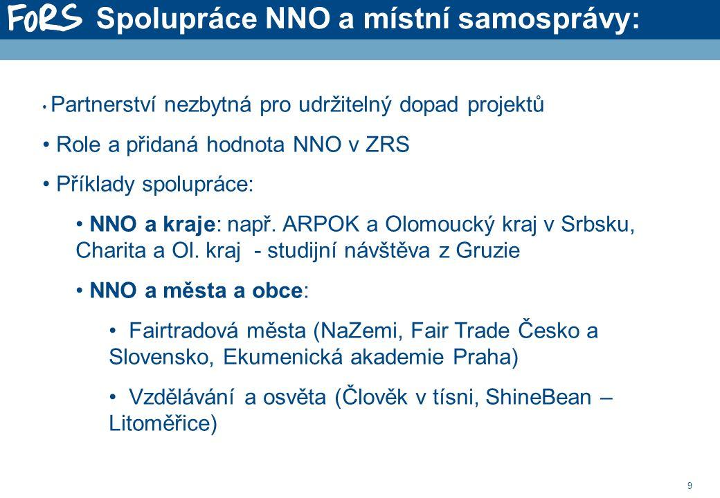 9 Spolupráce NNO a místní samosprávy: Partnerství nezbytná pro udržitelný dopad projektů Role a přidaná hodnota NNO v ZRS Příklady spolupráce: NNO a kraje: např.