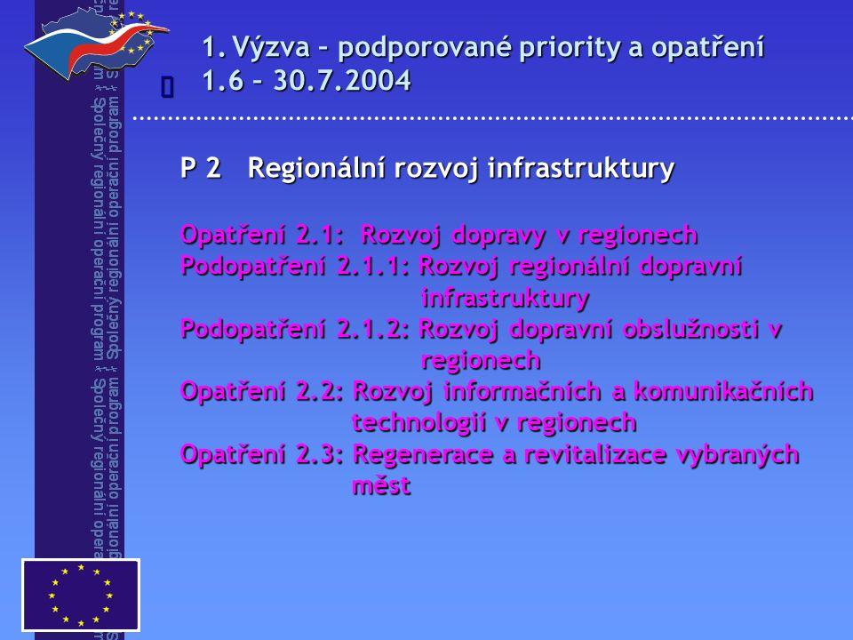 1.Výzva – podporované priority a opatření 1.6 – 30.7.2004  P 2 Regionální rozvoj infrastruktury Opatření 2.1: Rozvoj dopravy v regionech Podopatření