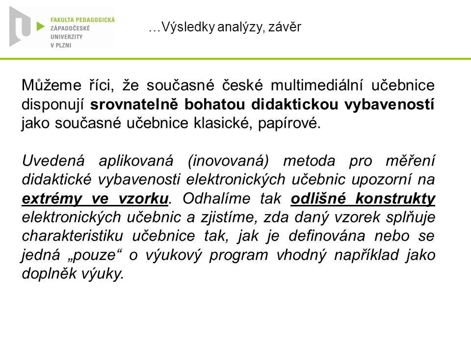 …Výsledky analýzy, závěr Můžeme říci, že současné české multimediální učebnice disponují srovnatelně bohatou didaktickou vybaveností jako současné učebnice klasické, papírové.
