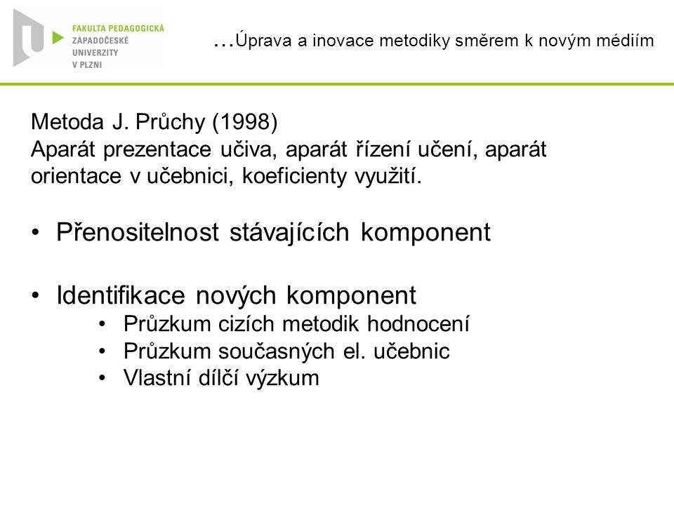 … Úprava a inovace metodiky směrem k novým médiím Metoda J. Průchy (1998) Aparát prezentace učiva, aparát řízení učení, aparát orientace v učebnici, k