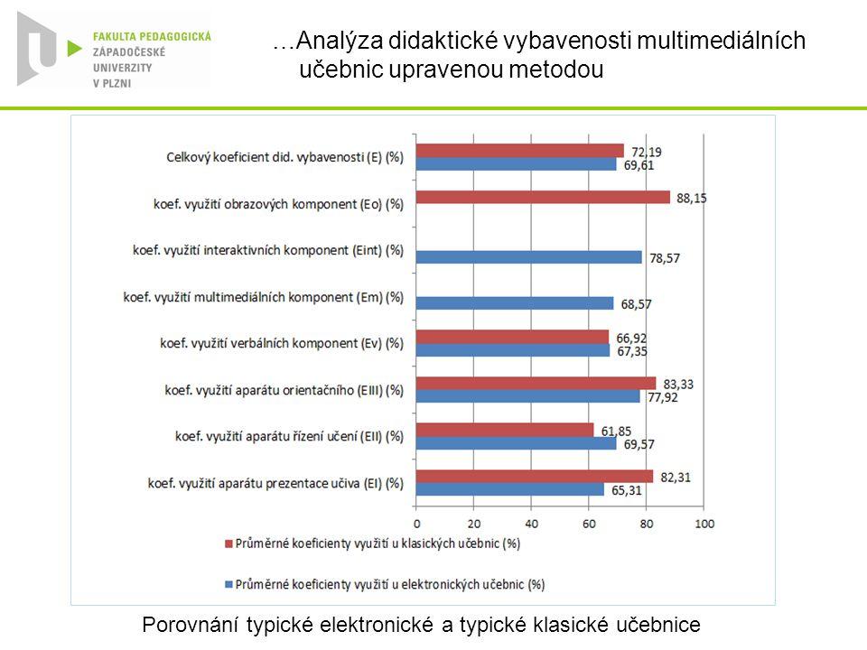 …Analýza didaktické vybavenosti multimediálních učebnic upravenou metodou Porovnání typické elektronické a typické klasické učebnice