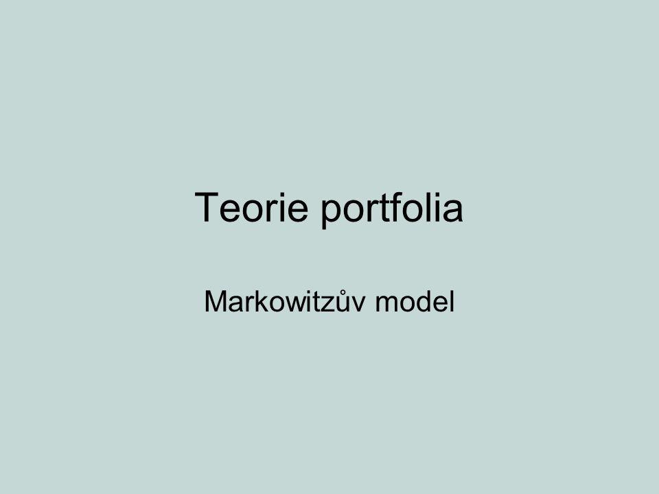 Téma přednášky příklad na výpočet výnosnosti portfolia problém výběru portfolia křivky indiference efektivní množina (konkávnost)