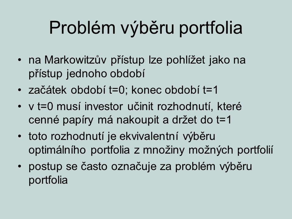 """Problém výběru portfolia investor při hledání jak maximální očekávané výnosnosti, tak minimálního rizika, sleduje dva konfliktní cíle Markowitzův přístup k investování říká, že investor by měl odhadnout očekávanou výnosnost a směrodatnou odchylku každého portfolia a potom vybrat """"nejlepší na základě relativní velikosti těchto dvou parametrů"""